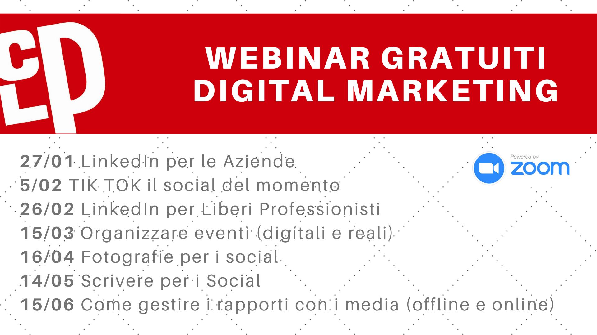 Webinar digital marketing gratuiti 2021